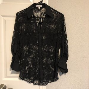Express black button up